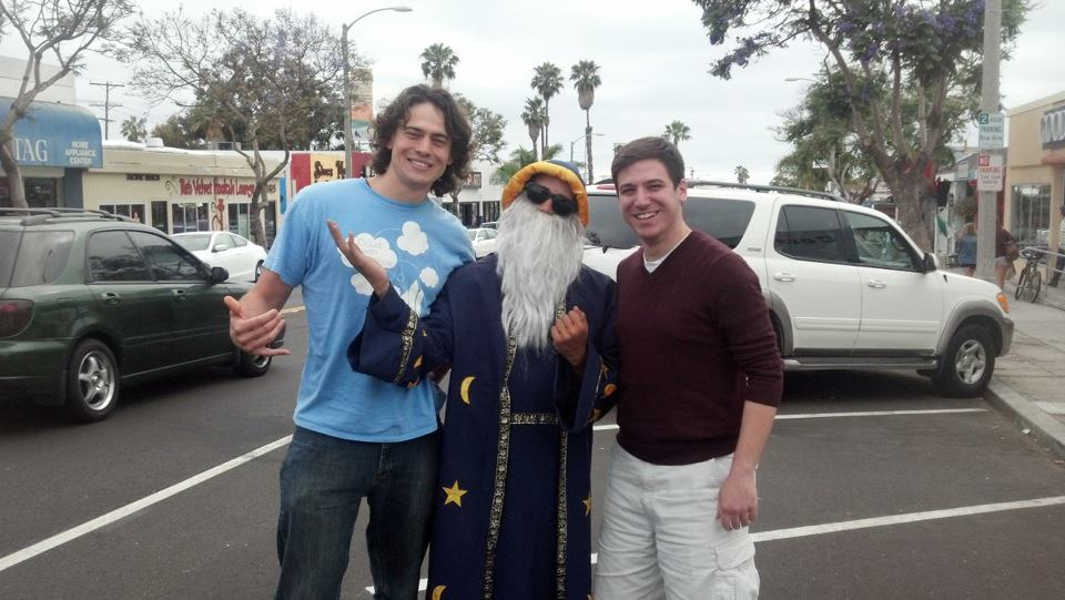 Road tripping through California. (From left to right: my buddy Geoff, a wizard, and me)